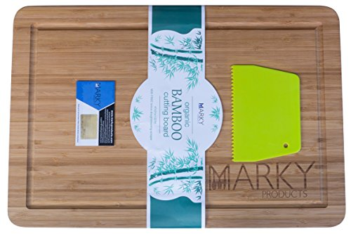 Marky Products All Natural Bamboo Wood Cutting Board With Drip