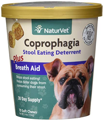 NaturVet - Coprophagia Stool Eating Deterrent Plus Breath Aid | Deters Dogs from Consuming Stool | Enhanced with Breath Freshener, Enzymes & Probiotics (70 Soft Chews)
