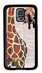 Case Shell for Samsung Galaxy S5 Covered with Giraffe,Customized Black Hard Plastic Cover Skin for Samsung Galaxy S5 I9600,,Cute iPhone 4 4S Case