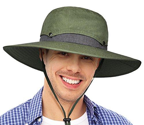 60193c27933 Tirrinia Mens Wide Brim Sun Hat with Neck Flap Fishing Safari Cap ...