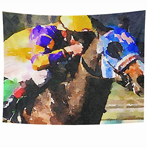 (Ahawoso Tapestry 80 x 60 Inches Outdoors Blue Thoroughbred Watercolor Painting Race Horse Jockey Abstract Brown Bet Closeup Wall Hanging Home Decor Tapestries for Living Room Bedroom Dorm)