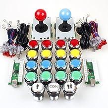 EG STARTS 2 Player Classic Arcade Contest DIY Kits USB Encoder To PC Joystick + 8 Ways Sticker + Chrome LED Illuminated Push Button 1 & 2 Player Coin Buttons For Arcade Mame Raspberry Pi 2 3 3B Games