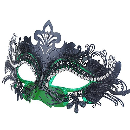 GloednApple Luxury Princess Laser Cut Metal Rhinestones Lady Masquerade Halloween Mardi Gras Party Mask (Black + Green)