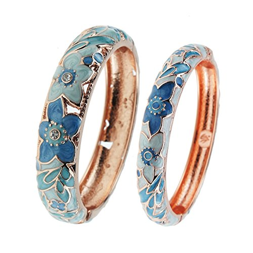 UJOY Vintage Bangle Jewelry Cloisonne Bracelet Gold Enamel Hollow Flower Gift Bangles Box for Women 88A12 light blue