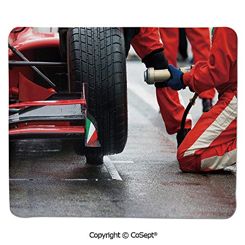 Ergonomic Mouse pad,Professional Racing Team at Work Pit Stop Racecar Fast Tyre Changing Image,Water-Resistant,Non-Slip Base,Ideal for Gaming (7.87