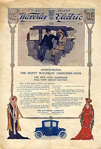 - Announcing the Silent Waverly Limousine-Four Electric Car ad 1913 HW