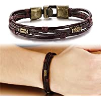 ERAWAN Men Punk Braided Genuine Leather Stainless Steel Cuff Bangle Bracelet Wristband EW sakcharn (Bronze)