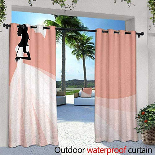 Tim1Beve Custom Outdoor Curtain Bridal Shower Bride in Abstract Romantic Wedding Dress with Umbrella Artwork Print Darkening Thermal Insulated Blackout 84