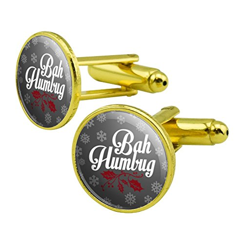 GRAPHICS & MORE Bah Humbug Christmas Funny Round Cufflink Set Gold Color