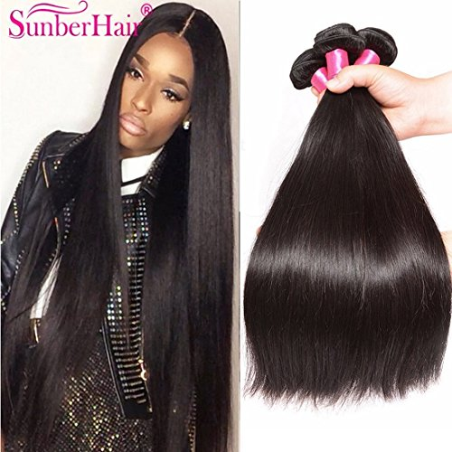 Malaysian Straight Hair 3 Bundles 7a 100% Unprocessed Remy Human Hair Bundles Weave Natural Color 95-100g/pc Mixed Length (16 18 20, Natural color)
