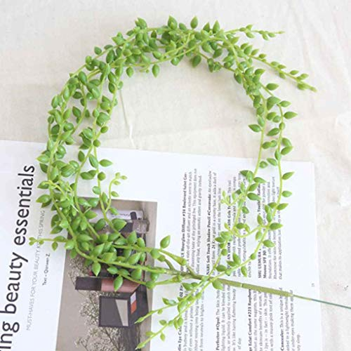 Artificial Decorations Artificial & Dried Flowers Lover Tears Succulent Artificial Plants Pearls Fleshy Green Vine Hanging Rattan Flowers