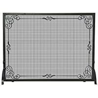 UniFlame Single Panel Black Wrought Iron...