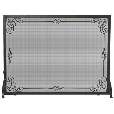 UniFlame Single Panel Black Wrought Iron Screen with Decorat