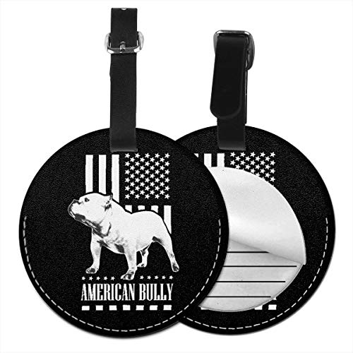 Round Leather Luggage Tags American Flag Bully Name ID Labels For Travel Suitcase Baggage Bag Set Of 2