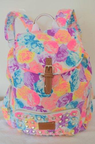 Victoria's Secret PINK Backpack Bling Studded Floral Canvas School Handbag Backpack Book Bag Tote-Sold (Pink The Store Bookbags)
