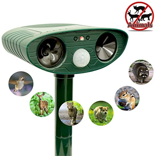 Ultrasonic Animal Repeller. Ultrasonic, waterproof, solar Powered repellent with motion Sensor and Red flashing lights. Works in Farms, Gardens, Yard. Repels all types of unwanted animals and birds.