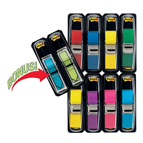 Post-it Flags Value Pack, Assorted Colors, 1/2 In Wide, 8