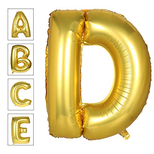Lovne 40 Inch Jumbo Gold Alphabet D Balloon Giant Prom Balloons Helium Foil Mylar Huge Letter Balloons A to Z for Birthday Party Decorations Wedding Anniversary