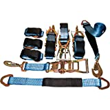 """4 Axle Strap Tie Downs 24"""" Long and 4 Ratchet Tow Straps Car Haulers"""
