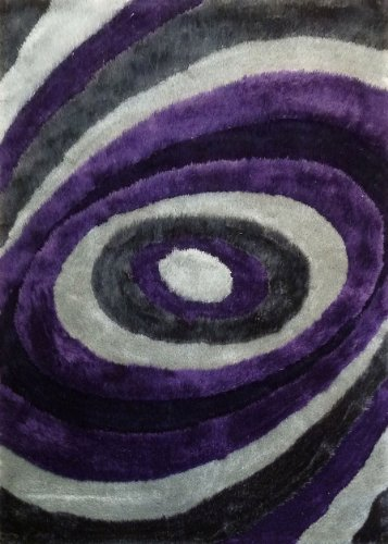 (Rug Factory Plus 105 Living Shag Luxurious Area Rug, 5 by 8-Feet, Gray and Purple)