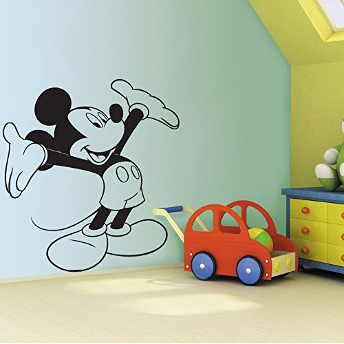 DECOR Kafe Decal Style Mickey Mouse Wall Sticker Large Size-36*39 Inch - Black Wall Stickers at amazon