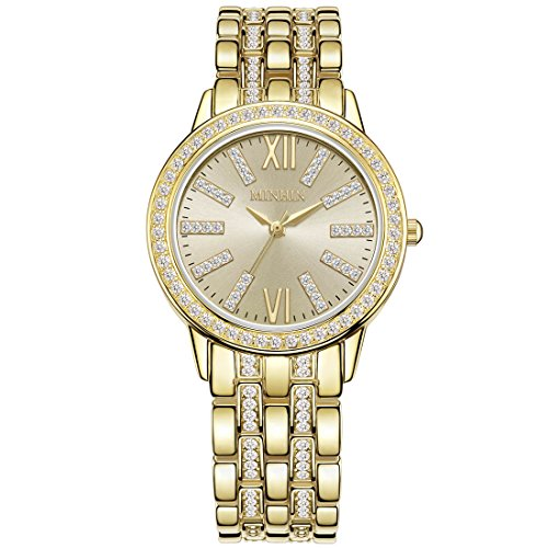 Womens Watch 20 Diamonds (MINHIN Unisex Elegant Iced-out Wrist Watch Simulated Diamond Shinning Business Watch (Gold))