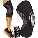 Physix Gear Knee Support Brace - Premium Recovery & Compression Sleeve for Meniscus Tear, ACL, MCL Running & Arthritis - Best Neoprene Stabilizer Wrap for Crossfit, Squats & Workouts (Single Pink M)