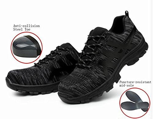 GUDUN Breathable Men Steel Toe boots Hiking Boots Safety Work Steel toe Shoes(Size Chart in Last Photo) (43, - Chart Canvas Work