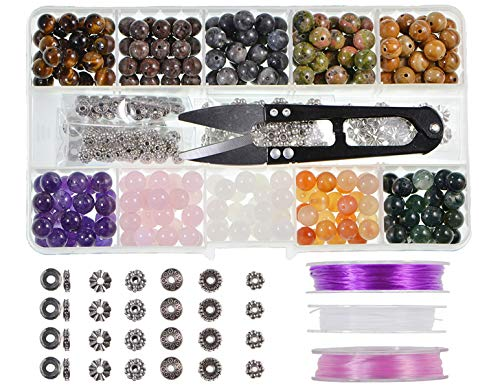 (Stone Beads Box Set Kits 250pcs 8mm Round Loose Gemstone Natural Amethyst Rose Quartz Red Agate Larvikite Labradorite Assorted Color with Accessories Tools for Bracelet(100% Natural Stone Beads Kit)