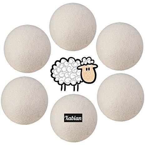 Trocknerbälle 6 Stück + praktischen Stoffbeutel XXL Bälle aus 100% neuseeländischer Schafswolle - die Alternative für Weichspüler