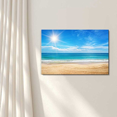 Seascape and Beach Under Blue Sunny Sky Home Deoration Wall Decor