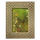 Grasslands Road Everyday Life Sterling Taupe Textile Leaf Ceramic Frame, 4 by 6-Inch