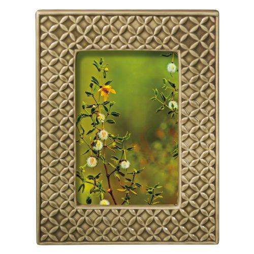 Grasslands Road Everyday Life Sterling Taupe Textile Leaf Ceramic Frame, 4 by 6-Inch by Grasslands Road