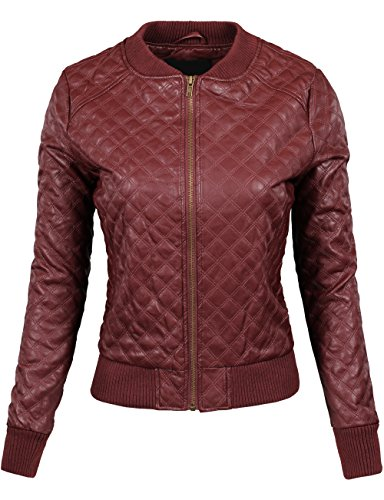 BEKTOME Womens Quilted Leather Varsity