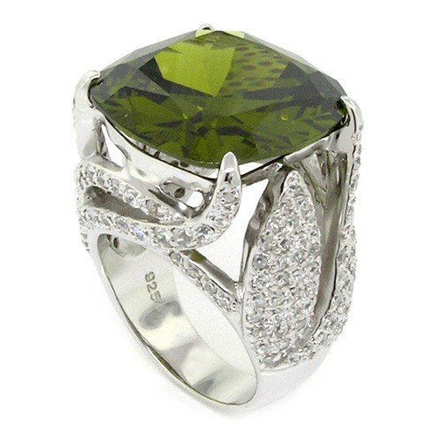 Diva Cocktail Ring (Spectacular Diva Sterling Silver Cocktail Ring w/Olive & White CZs, 8)