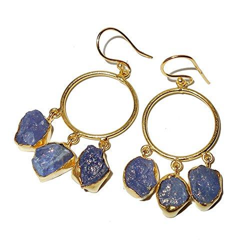 (Round Circle Design Handmade 18k Gold Vermeil Tanzanite Gemstone Chandelier Earrings)