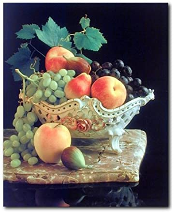 Fruit Grapes Apple In Bowl Still Life Kitchen Wall Decor Art Print Poster 16x20