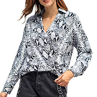 Womens Snake Printed Long Sleeve Fashion V-Neck Fancy Wrap T-Shirt Blouse Tops