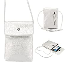 Universal Cell Phone Cross-body Purse,Large Screen Shoulder Bag Soft PU Leather Carrying Cases for Apple iPhone 6s/6 Plus iPhone 6/6s,Samsung Galaxy S6 and Note Series and Phones Under 6.1 inch-Silver