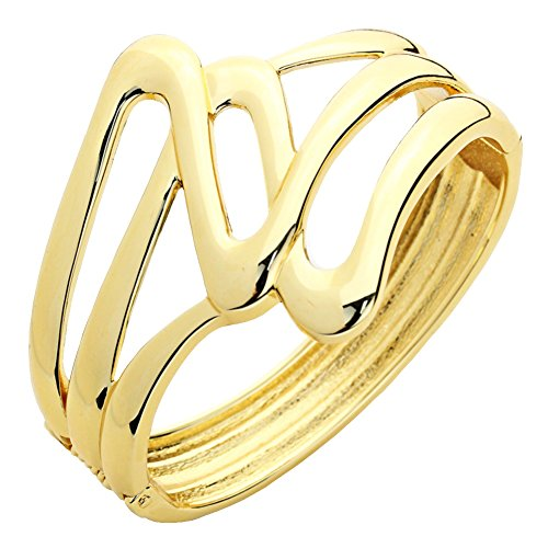 Mod Style Abstract Open Work Gold-Tone Bangle Bracelet, 2 Inch Wide Design Tapering to ½ Inch, Hinged