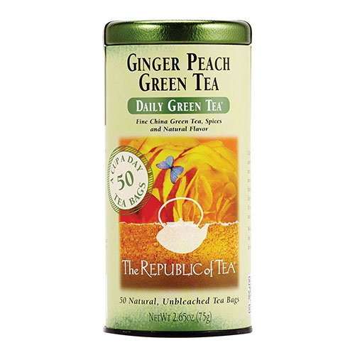 The Republic of Tea, Ginger Peach Green Tea, Caffeinated, 50-Count
