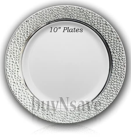 buyNsave White with Silver Heavyweight Plastic Elegant Disposable Plates, Wedding Party Elegant Dinnerware, Hammered Collection (40, 10.25