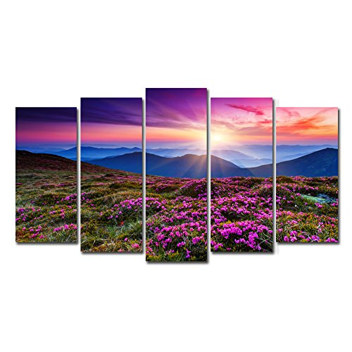 Horgan Art Canvas Prints Wall Art Landscape Painting Purple Flower Field with Grass in The Sun Verbena Hybrida Pictures Modern Artwork for Home Decor Mountaintop Paysage 5 Pieces (No Frame)