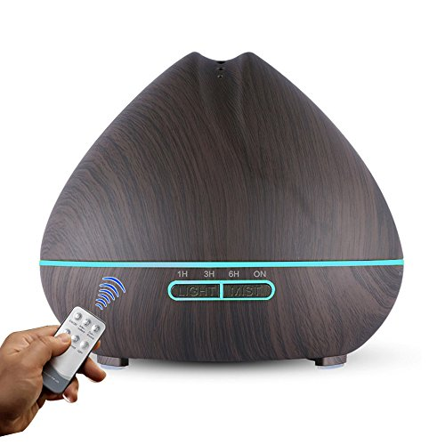 Large Capacity Essential Oil Diffuser 500ml with Remote Control Ultrasonic Cool Mist Wood Grain Aromatherapy Oil Diffuser Humidifier Whisper Quiet Air Purifier for Home Office Yoga Large Single Room