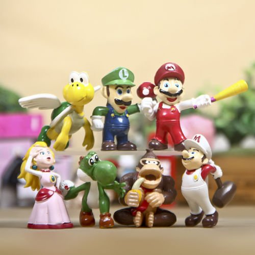 Super Mario Bros Yoshi Luigi Goomba Action Figure 7pcs (Super Sonic Costume)