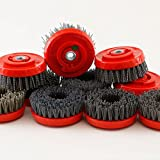 4'' Antiquing Silicone Carbide Brushes 7 Piece Grit 36 to Grit 500 Granite Stone Marble 5/8-11 Thread stone texture work with wet polisher or hand held grinder stone repair care