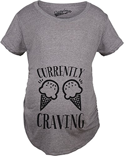 Maternity Currently Craving Ice Cream Funny Pregnancy Announcement T Shirt (Grey) M - Cream Ice Pregnancy