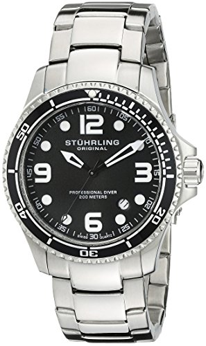 Stuhrling Original Men's 593.332D11 Aquadiver Grand Regatta Swiss Quartz Diver Date Black Watch
