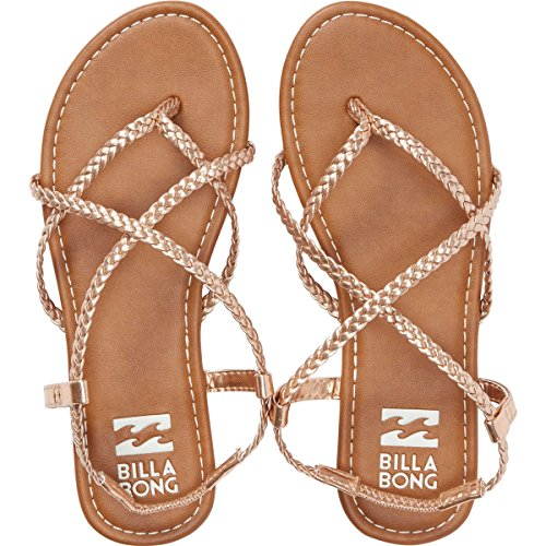 Billabong Women's Crossing Over 2 Flat Sandal, Gold/Pink, 9 M US