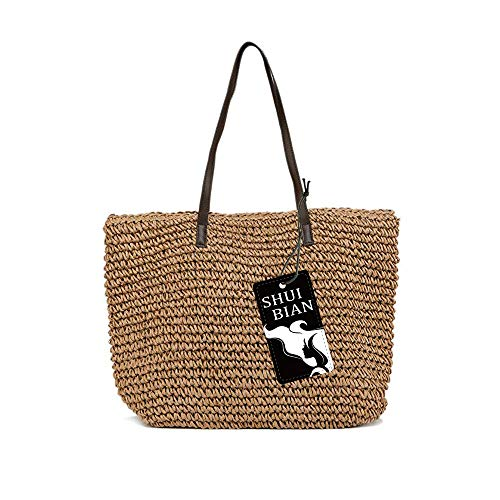 Women's Straw Handbags wicker handmade knitted Large Summer Beach Tote Woven Round Pompom Handle Shoulder Bohemian Bag (brown)